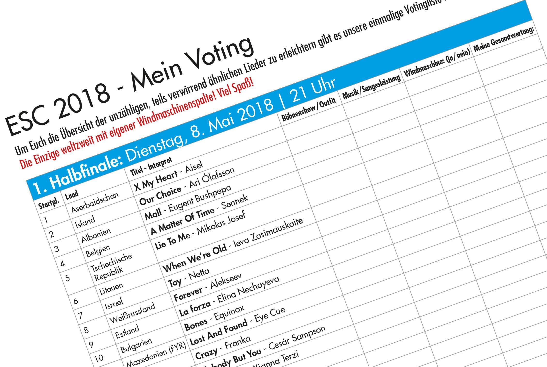 Songcontest Startreihenfolge zum Ausdrucken
